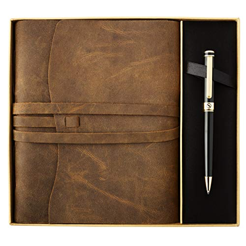 Premium Leather Journal Gift Set by Scriveiner � Black Lacquer & 24K Gold Luxury Ballpoint Pen, 8x6 Inch Handmade Genuine Leather Journal, Cotton Paper, Christmas, Leather Anniversary Gifts