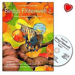 Birdys Flötenwelt Volume 2 - Apprendre la flûte traversière malin et légère - École de la flûte traversière de Karin Reda avec CD, cartes de musique et pince à partitions colorée en forme de cœur