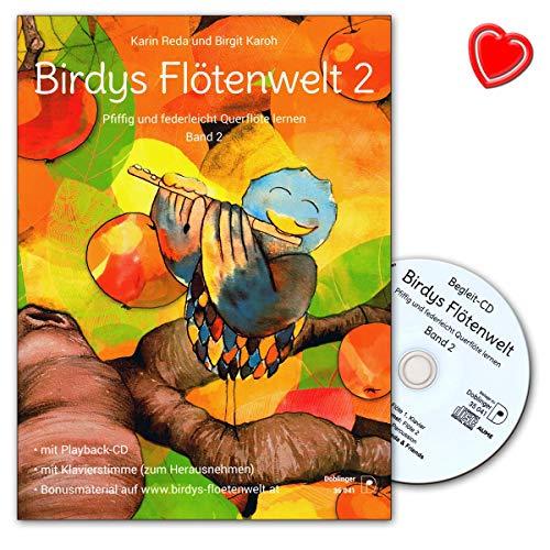 Birdys Flötenwelt Band 2 – sprytny i lekki jak piórko flet poprzeczny – szkoła fletu poprzecznego firmy Karin Reda z CD, kartami do nut i kolorową klamrą do nut w kształcie serca