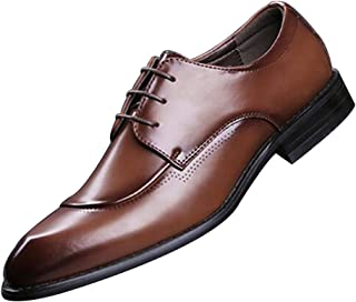 GYUANLAI Men's Leather Shoes Retro Soft and Comfortable Breathable PU Classic Oxford and hat-foot With lacing dress shoes