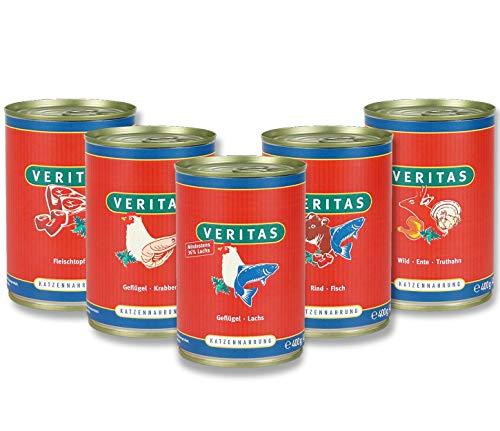 veritas Katzenmenü Mix Katzenfutter nass – 5 Gourmet Sorten Nassfutter für Katzen I Geflügel Fisch Rind Wild Ente Huhn - Katzennassfutter (28x400g)