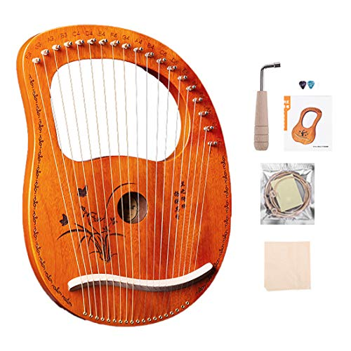 ASHU Portable Small Harp, 19 Lyre Harp, Stringed Instrument, Metal Stringed Mahogany Instrument, Lyre, Easy to Operate, with Tuning Wrench and Strings, Etc,B