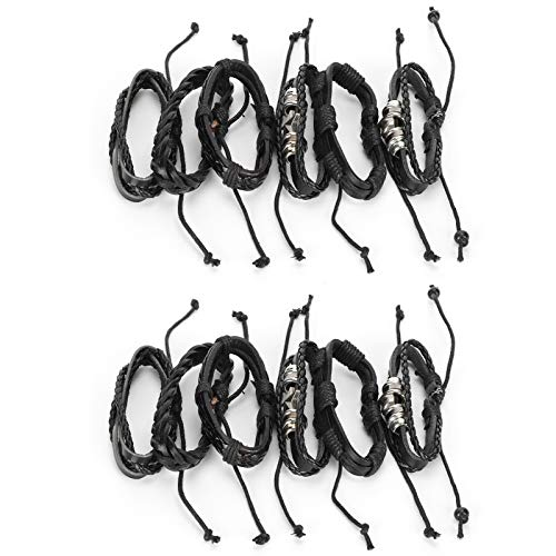 SALUTUYA 12-teiliges Herrenarmband, Leder-Kreuzarmband Herren-Edelstahl-Lederarmband Einfach und stilvoll