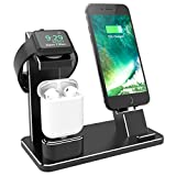 XUNMEJ for Apple Watch Charging Dock, 4 in1 Aluminum iPhone Watch AirPods Charger Stand Station Holder for Apple iWatch 6 SE 5 4 , AirPods Pro/2/1,iPhone 12, XS X Max XR 7 6, iPad 2020 (Black)