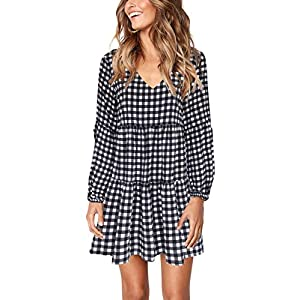 Women's Printed Swing Shift Dress Long Sleeve V Neck Tunic Dress