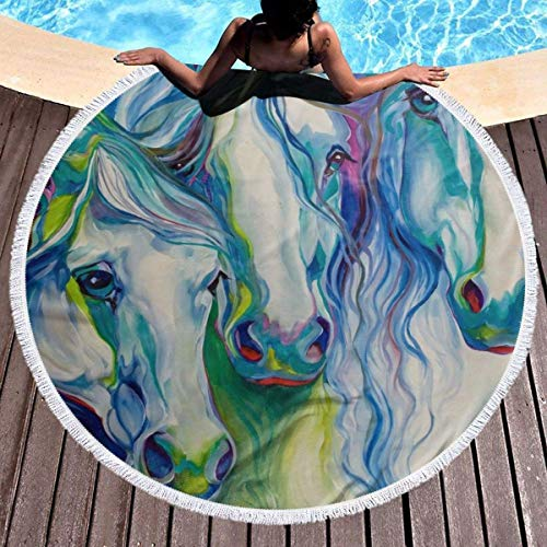 Wohnen Badausstattung Badtextilien Frottiertücher Strandtücher Large Baby Deer Round Beach Towel Soft Microfiber Thick Large Tapestry Table Cloths Roundie Beach Blanket Throw Picnic Yoga Mat Terry wit