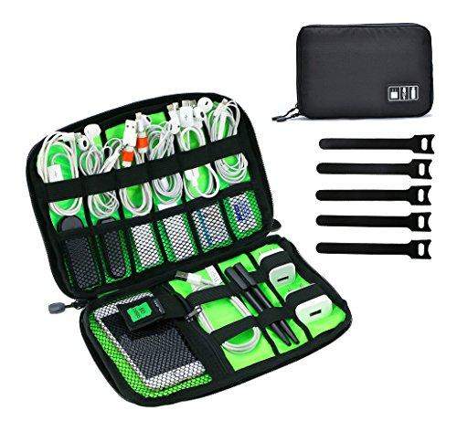 JamBer Electrónica Organizador de Cables, Travel Organizador Bolsa de Accesorios electrónicos para Cable USB/Disco Duro/Tarjeta de Memoria/Cable de alimentación Cargador de batería