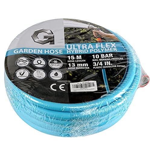 """G Manguera de jardín 1/2 """"15 m, 50 pies de alto rendimiento Premium Ultra-flex híbrido manguera de polímero de presión máxima 10BAR/150PSI con conexiones GHT de 3/4"""""""