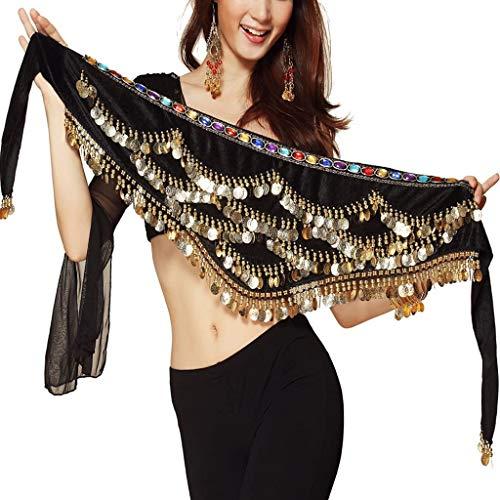 Pañuelo de Danza del Vientre Mujer Baile Oriental Bufanda Falda Cinturón de Cadera con 271 Monedas Lentejuelas (ZP142-negro, Talla única)