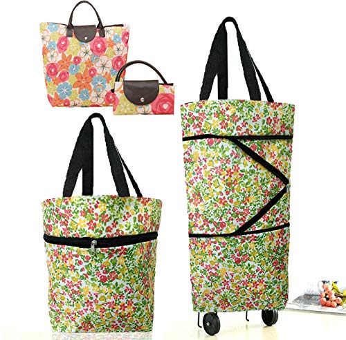 Cocobuy 2 Packs Foldable Shopping Bag with Wheels Collapsible Shopping Cart Shopping Trolley Bag on Wheels Grocery Bags(Small Floral AA)