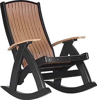 LuxCraft Poly Comfort Rocker, Recycled Plastic Outdoor Rocking Chair, Cedar & Black
