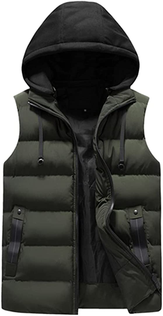 Men Vest Sleeveless Jackets Hooded Casual Waistcoat Warm Pocket Zipper Cotton-Padded Clothing