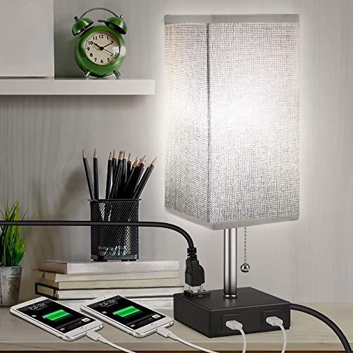 WOERD Lámpara de Mesa con 2 Puertos USB Útiles Lámpara de Noche Conveniente para Mesilla de Noche de la Lámpara Tela Shade Mesilla de Noche de la Lámpara para Estudio y Habitación de Bebé