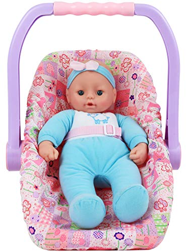 Click N' Play Adjustable Doll Car Seat Carrier Converts from Rocking Bouncer to Regular Feeding Seat Featuring Adorable Real Life Baby Doll