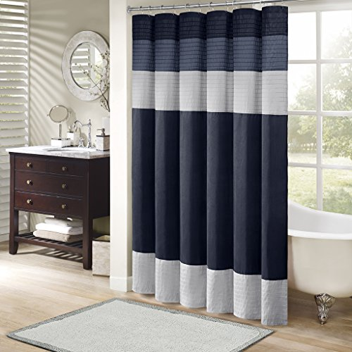 Madison Park Amherst Bathroom Shower Faux Silk Pieced Striped Modern Microfiber Bath Curtains, 72x72 Inches, Navy