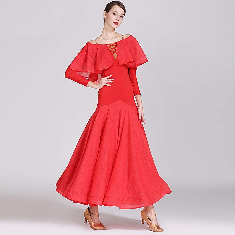 Z&X Modern Dance Dress for Women Large Pendulum Skirt Ballroom Costume Competition Nylon Ice Silk Bright Silk Pleats