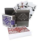 Cartas de póquer de plástico a Prueba de Agua Pack Doble de Personajes de Cuatro Esquinas - Juegos de Cartas con Jumbo Index para Texas Holdem Poker