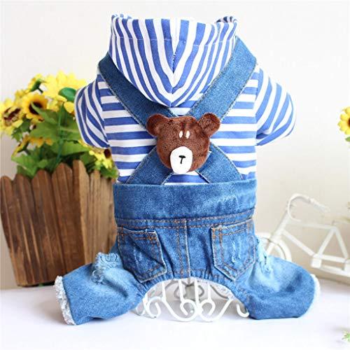 Warme Mütze Haustier Kleidung Superweicher Welpen-Hoodie Aus Baumwolle Multifunktionale Wintersportjacke Für Haustiere (Color : Blau, Size : L)