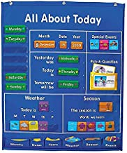 180 cards for Pocket Chart, Daily Schedule School Pocket Chart Learning Resource, All About Today Activity Center For Classroom Pocket Chart Meeting, Storage Pocket with Space Saver Pocket Charts
