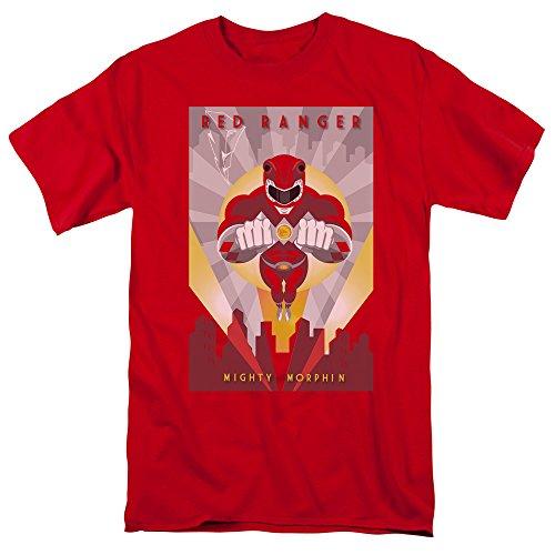 Mighty Morphin Power Rangers Deco Rojo Mens Camisa Manga Cor