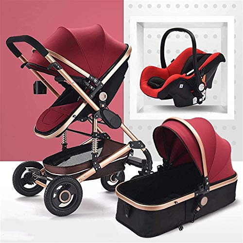YZPTD 3 en 1 Carro de bebé portátil, Cochecito de bebé de absorción de Golpes, arnés de 5 Puntos y Canasta de Almacenamiento Alta, Cochecito de Cochecito para bebés y niños pequeños (Color : C)