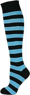 Mysocks Unisex Knee High Stripe Socks Stripe Turquoise and Black 4-7