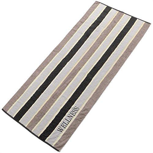 Sauna-Handtuch Strandlaken | verschiedene Farben | 80 x 200 cm Baumwolle Frottee | aqua-textil 0010152 | mit Stickerei | Wellness Streifen schwarz