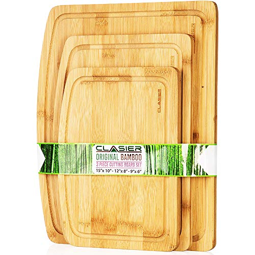 Organic Bamboo Cutting Boards for Kitchen Set of 3