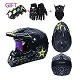 HXZM off-Road Casco Moto Doppio Sport Fuoristrada Fuoristrada ATV DOT Certificazione Motocross Casco Rockstar (S, M, L, XL, XXL),Black,S54~55CM