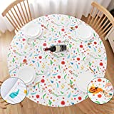 UMINEUX Round Fitted Vinyl Tablecloth with Elastic Edged & Flannel Backing, Waterproof Wipeable Round Table Cover for Indoor Patio Use - Fits Tables up to 40