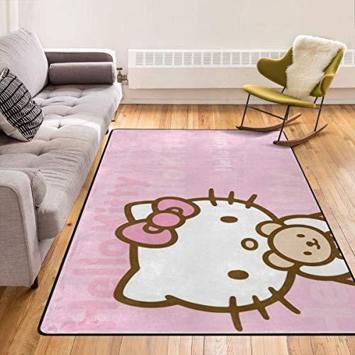 Caimizogojocrz Hello Kitty - Alfombra antideslizante para salón, dormitorio y niños