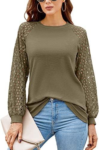 HAOMEILI Women's Long Sleeve Tops Lace Shirt...
