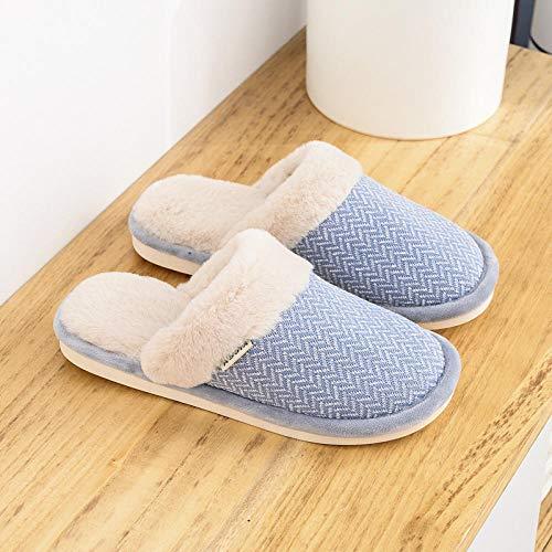 Pantoffels dames katoen slippers, zacht, wollig warme mute slippers blauw lief eenvoudig gebreid gesloten - Toe Dragen bewijs wasbaar imitatiebont slip-on shose voor winter etage huis O