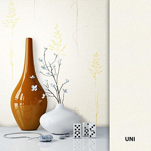 NEWROOM bloempot beige vliesbehang crème geel bloemen,grafisch, natuur mooie moderne en elegante design look, inclusief behanggift Floral, grafisch, natuur. Patroon.