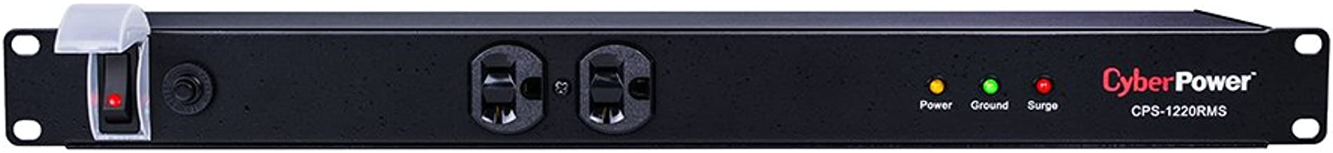 CyberPower CPS1220RMS Surge Protector, 120V/20A, 12 Outlets, 15ft Power Cord, 1U Rackmount
