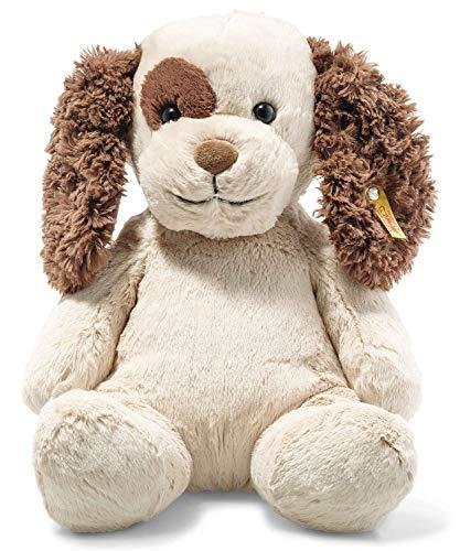 Steiff Peppi Welpe, Original Plüschtier 38 cm, Plüsch Hund sitzend, Kuscheltier für Kinder, Soft Cuddly Friends, Schmusetier zum Spielen, beweglich & waschbar, Stofftier Creme/braun (083617)