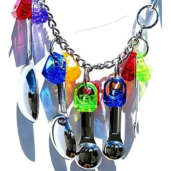 BulzEU Jouet de Oiseaux Bird Toys Cuillère Chaine en acier inoxydable Jouet Coloré pour Oiseaux perroquets, gris du Gabon, Mini Aras, petits cacatoès (Anneaux Colorés)