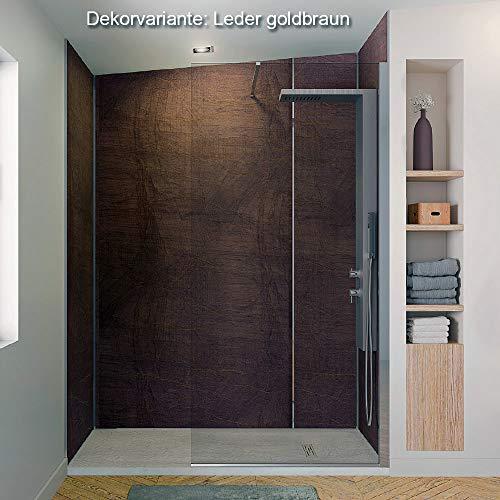 Wandverkleidung Duschrückwand, Dusche Fliesenersatz HPL, div. Größen und Dekore Höhe bis 244 cm, Wandpaneel Farbe Leder gold braun