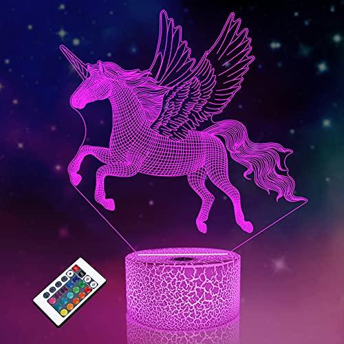 Luz nocturna infantil con diseño de unicornio, ilusión óptica 3D, 16 colores, cambian de luz, cumpleaños, Navidad, regalo sorprendente para bebés, niños y niñas