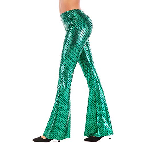 Women's Shiny Mermaid Fish Scale Hot Pants Flared Bell Bottom 70's Party Yoga Workout Pants Stretchy Leggings Y# Mermaid Green S