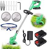 Oyeeice Akku Rasentrimmer 21V mit Akku und Ladegerät Elektro Rasentrimmer Teleskopstiel Leichter für Rasenschneiden, Rasenpflege, Auffahrt und Garten, 2 Batterie--StrCous