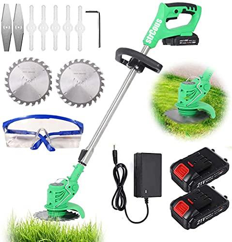 Oyeeice Débroussailleuse électrique sans fil 21 V avec batterie et chargeur - Manche télescopique léger pour la coupe de gazon, l'entretien de la pelouse, l'allée et le jardin - 2...