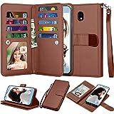 Njjex Wallet Case For Galaxy J7 2018/J7 Refine/J7 V 2nd Gen/J7 Aero/J7 Aura/J7 Top/J7 Crown/J7 Eon/J7 Star, PU Leather Card Slots Holder Kickstand Flip Cover Case & Lanyard For Samsung J7 Star [Brown]