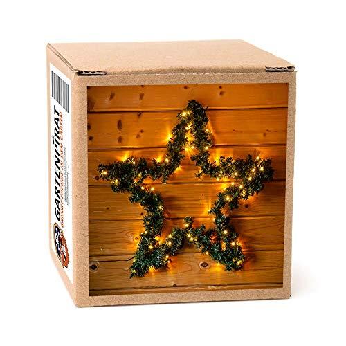 Weihnachtsstern 60 cm aussen beleuchtet aus Metall mit Girlande von 80 LED beleuchtet aussen Strom Weihnachten