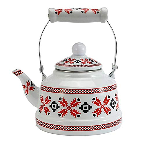 LLine Gevlochten patroon Emaille waterkan Koffie Theepot Chinese traditionele creatieve waterketel voor thuiskeuken, rood, 1.1L