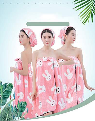 ZHONGXIN Toalla de Mujer Abrigo Turbante para el Cabello Conjunto Microfibra Suave Usable SPA Ducha Baño Envoltura Sin Tirantes Cubrir Bañarse Vestido de Tubo de Toalla Albornoz con Espalda elástica