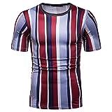 T-Shirt pour Hommes Hauts Mode décontracté imprimé rayé pour Hommes col Rond en Plein air Fitness T-Shirt de Sport Gilet à Manches Courtes pour Hommes XXL