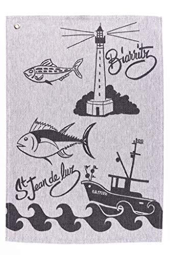 L'Océane Lot de 3 torchon de Cuisine 100% Coton Biarritz