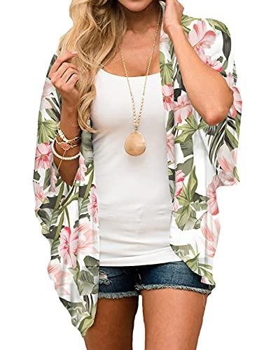 Heynino Damskie szyfonowe kardigany kimono z otwartym przodem kwiatowy nadruk plaża zakrycie peleryny przezroczyste luźne bluzki topy
