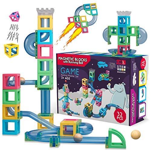 Hippococo magnetische Bausteine für Kinder, 3D Bauklötze mit Rollbahn, Murmelbahn, innovatives Mint Lernspielzeug für Jungen und Mädchen, fördert Kreativität und Fantasie (32 Teile)